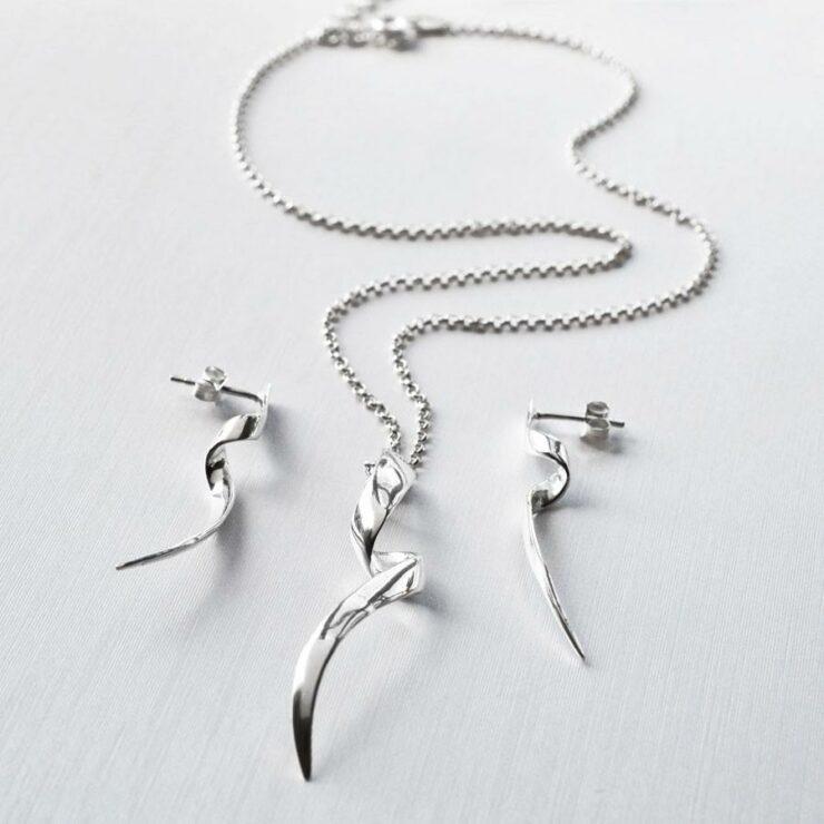 Sterling Silver Ribbon Twist Jewellery Set by Martha Jackson
