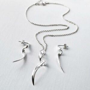 Silver Ribbon Twist Set by Martha Jackson