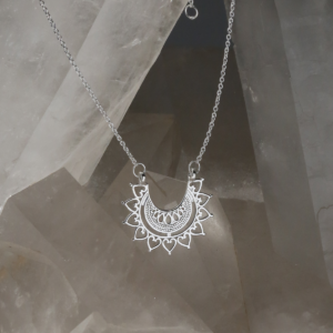 Sterling silver marrakech affair necklace on crystal.