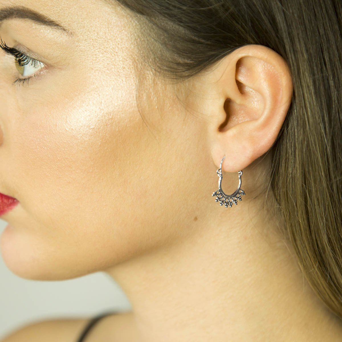 Sterling Silver Temple Hoops on Model with Brown/Blonde Hair