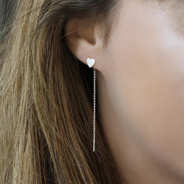 Sterling silver heart ear threader.
