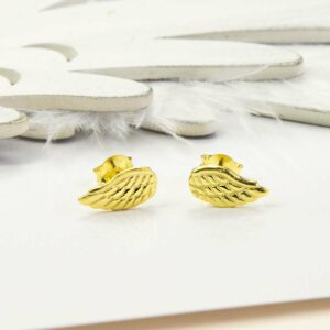 Gold Angel Wing Studs with white feather and wooden feather background