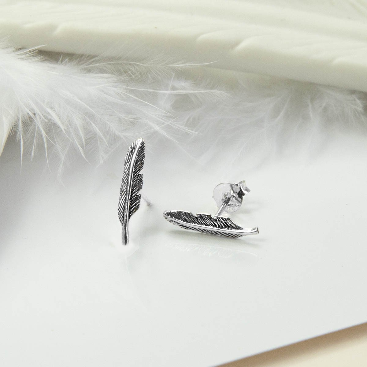 Small Silver feather  with White ceramic feather and white feather as background