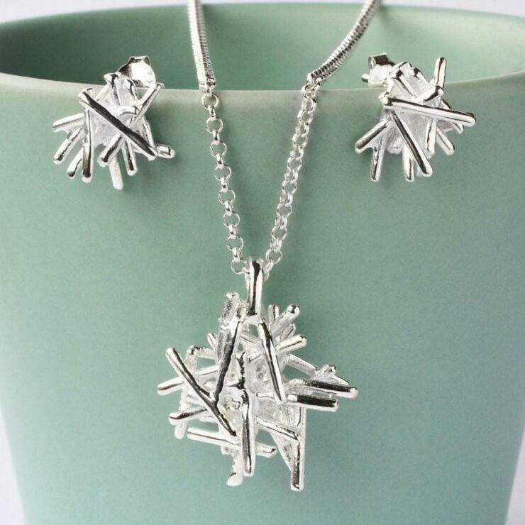 Silver Twig Stack Jewellery Set by Martha Jackson