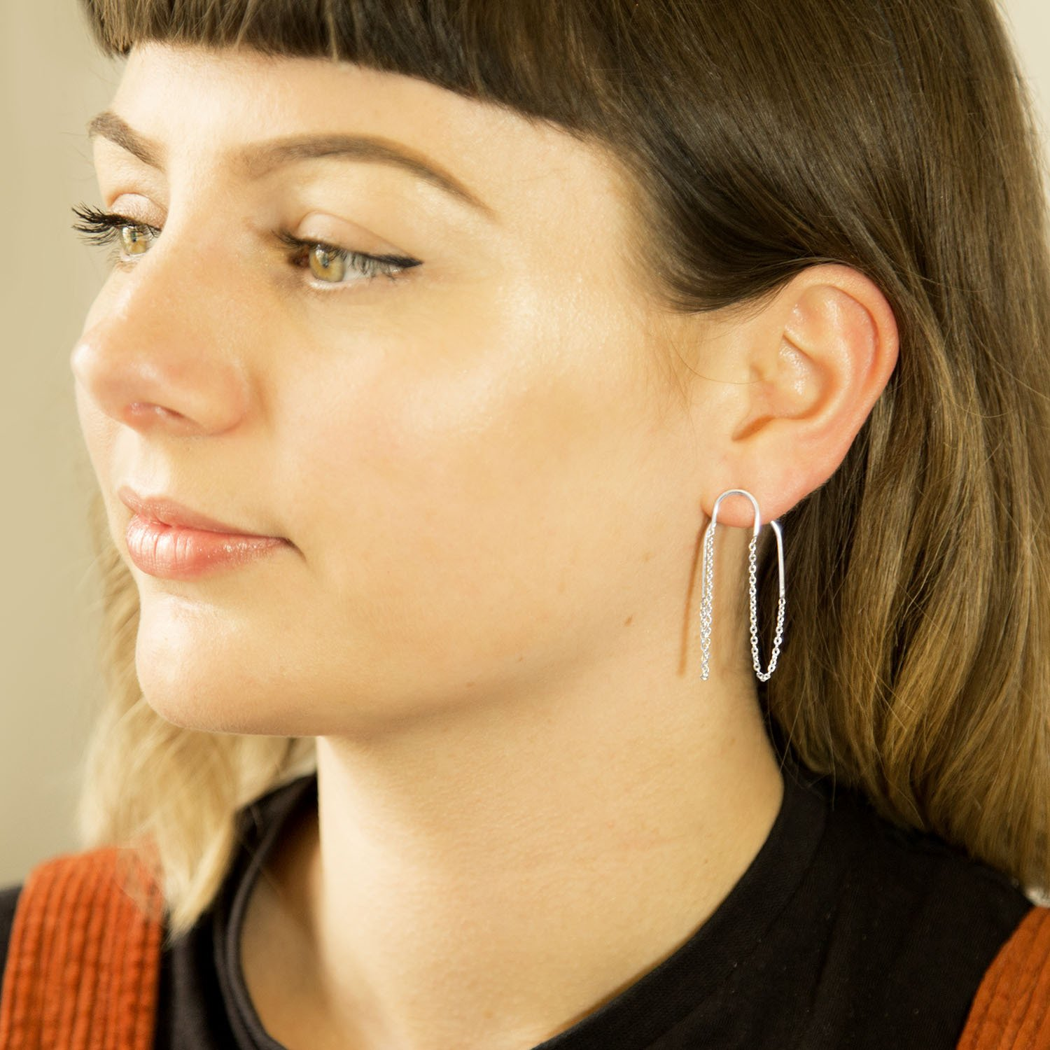 Two way chain Sterling Silver studs on model