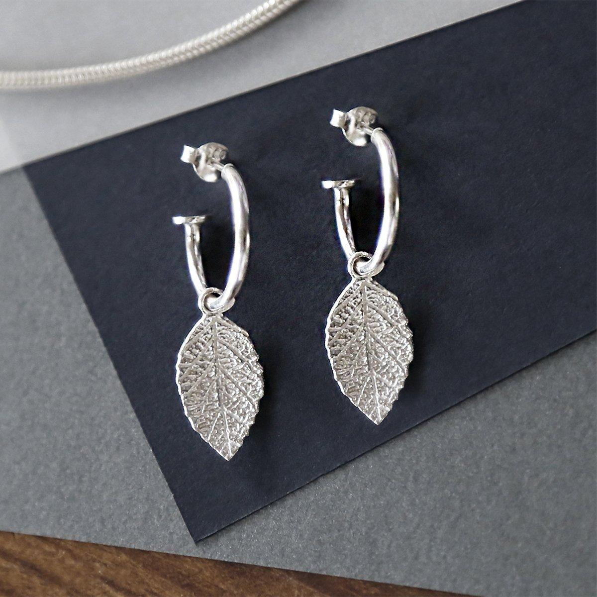 sterling silver leaf hoops studs handing