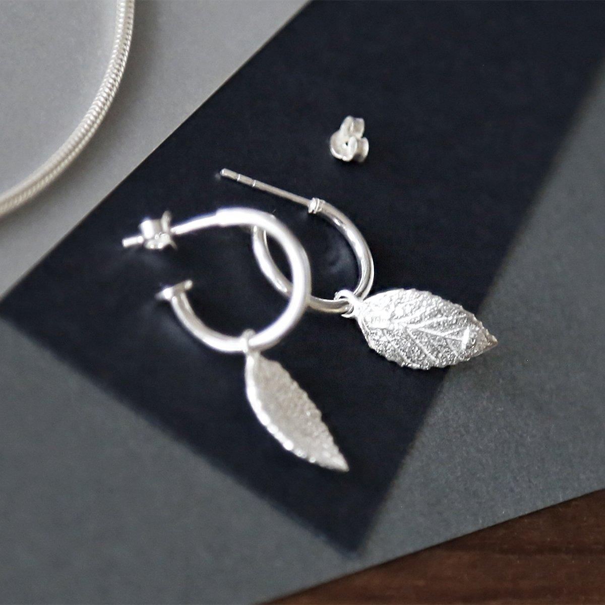 sterling silver leaf hoops studs showing leaf detail