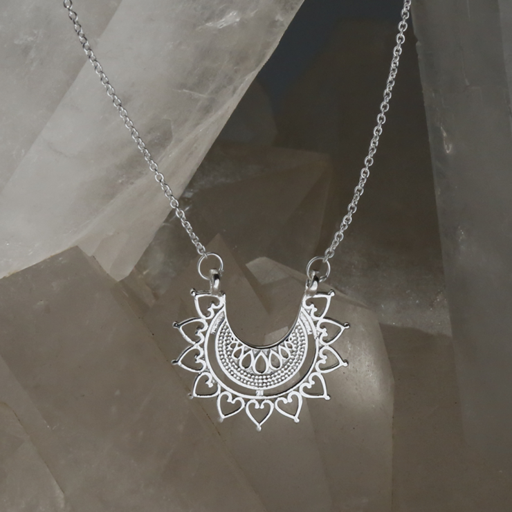 Sterling silver marrakech affair necklace on crystal background.