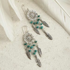 sterling silver dangly turquoise stone dream catcher earrings laid out with feathers