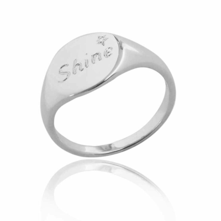 Single engraved with shine round sterling silver signet ring blank background