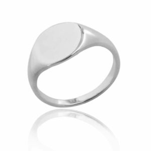 Single plain round sterling silver signet ring blank background