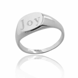 Single engraved with joy round sterling silver signet ring blank background