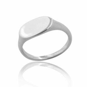 Single plain wide landscape sterling silver signet ring blank background