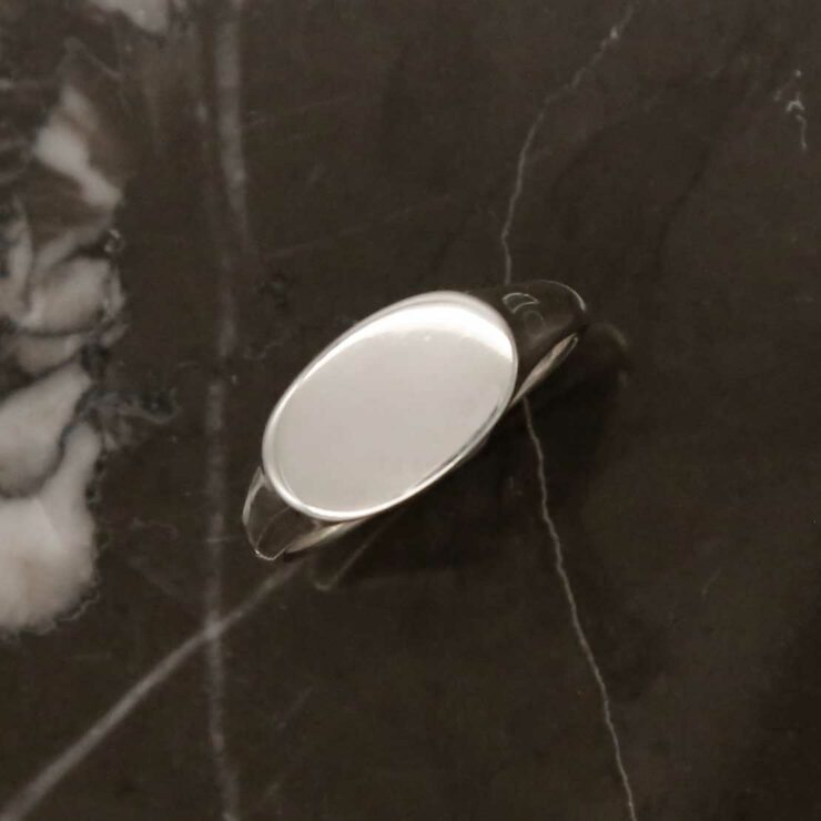 Single plain wide landscape sterling silver signet ring