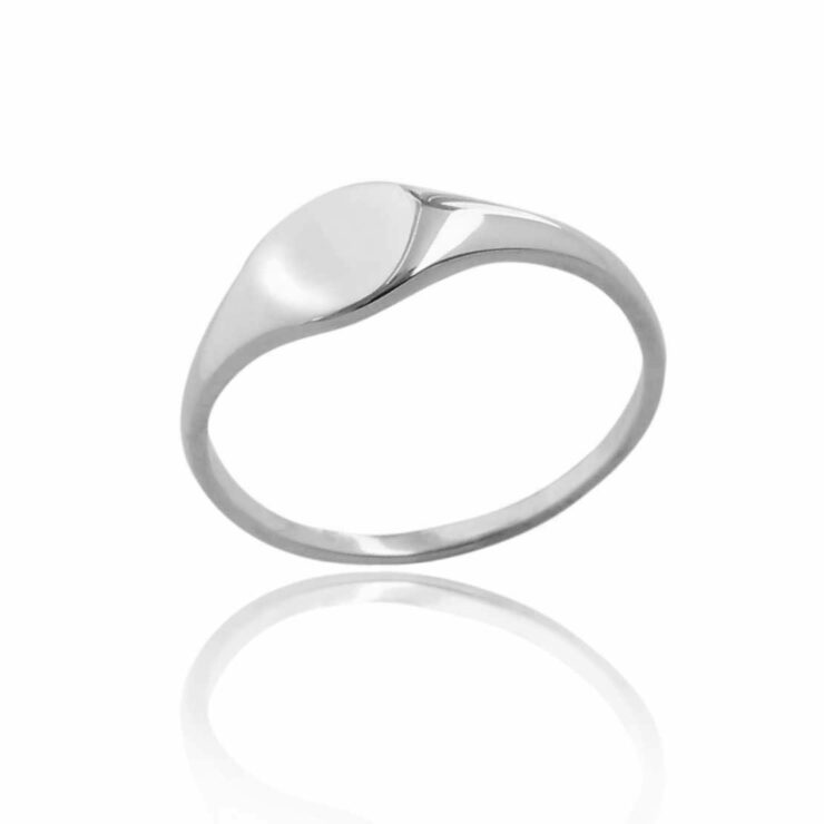 Single plain small silver signet ring blank background
