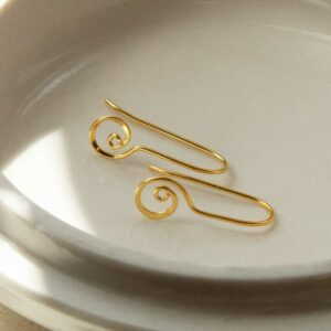 gold spiral ear threaders on plate