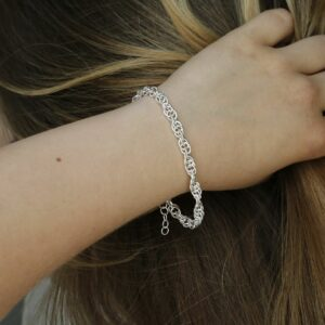 Sterling Silver Twisted Rope Bracelet on a girls wrist