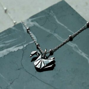sterling silver origami swan necklace