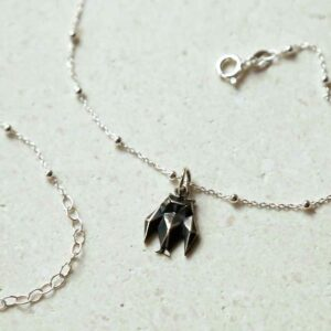 Sterling Silver Oxidised Origami Owl Necklace on white background