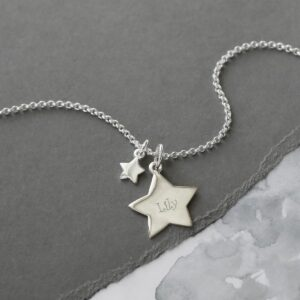 Sterling Silver Double Star Necklace on slate
